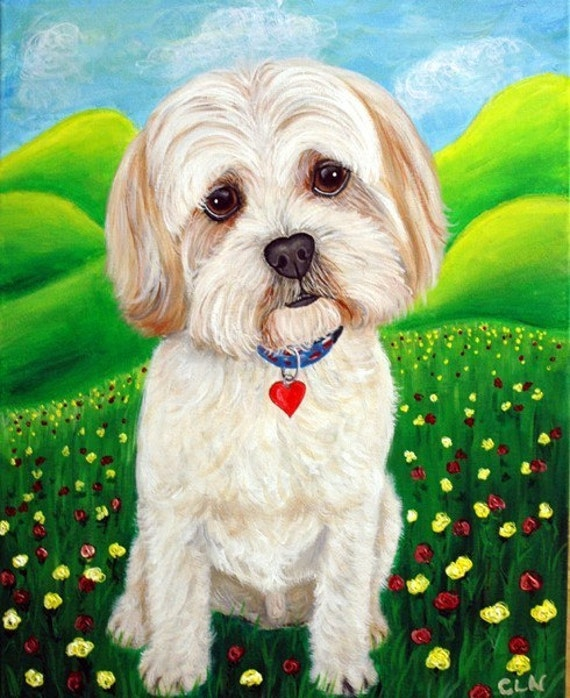Fine Art Prints- Happy, Shih Tzu, Lhasa Apso Dog Painting