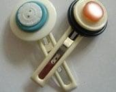 Bullseye Button Hairclips