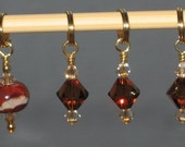 Cafe Au Lait - Stitch Marker Set - Lampwork and Swarovski
