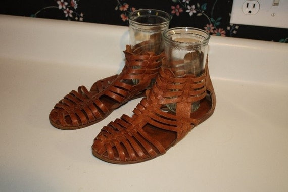 Leather Gladiator Guarachas Sandals Flats Size 8 By Recy