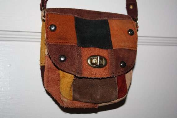 GOING VEGAN SALE Tiny Patchwork Suede Purse Pouch