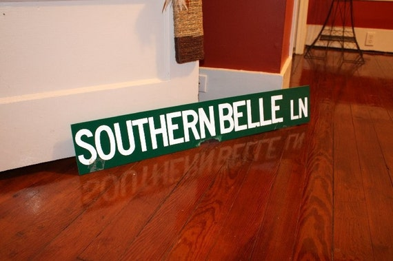 Southern Belle Lane.  Authentic old road sign.