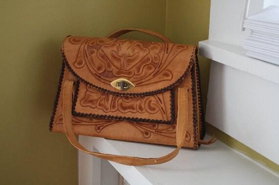 GOING VEGAN SALE Tooled Leather Handbag.  Mexico.