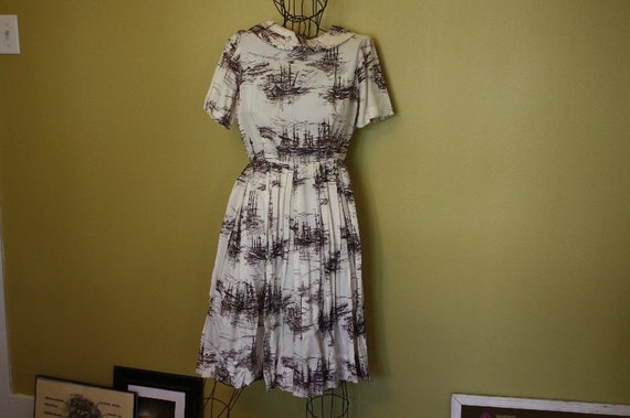 1950's Day Dress.  Ship Fabric.  Handmade.  Peter Pan Collar.