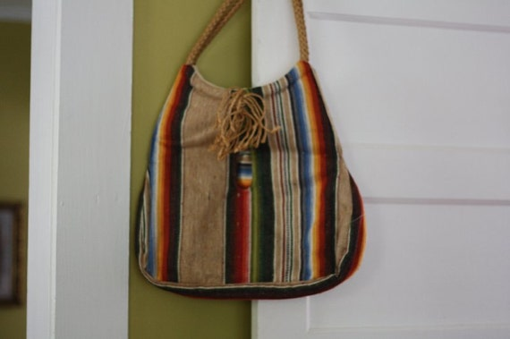 GOING VEGAN SALE Old wool tote bag.  Multi-color.  Ethnic.