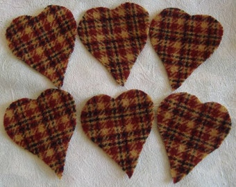 Felted Wool Primitive Hearts, 20 pieces, Hand Cut