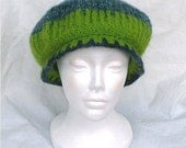 Felted Mushroom Cap in Green and Green