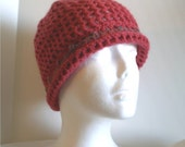 Springy Crocheted Beanie with Picot Edging in Bright Pink