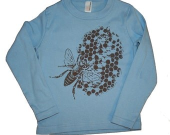 Blue and Brown Honey Bee Toddler Shirt
