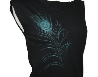 Teal Peacock Feather Black Dress