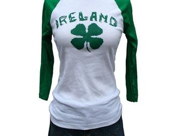 Ireland Green and White Raglan