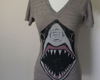 Giant Shark Brown Eco Heather V Neck Top