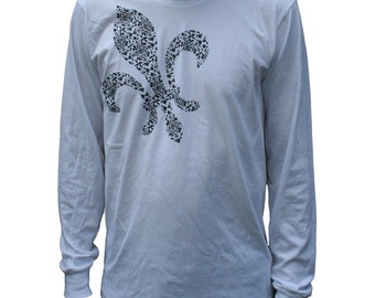 SALE Guys Fleur de Lis black and white Shirt size medium