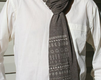 Brown Earth melange wrap scarf