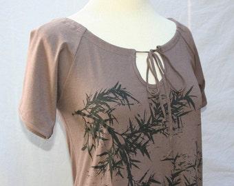 Black Bamboo Tie Neck Tunic large