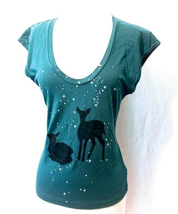 Teal Starry Forest sleeveless top large