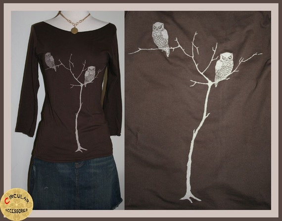 Brown Tree Owls Boat Neck