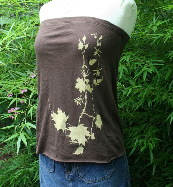 Swamp Maple Branch brown strapless top size XL