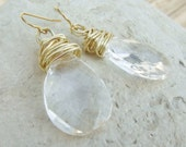 Chunky Gold Wire Wrapped Teardrop Earrings