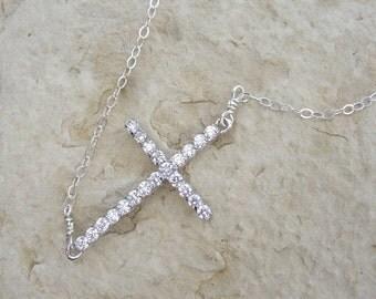 Sideways Cubic Zirconia CZ Rhinestone Cross Necklace Sterling Silver