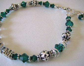 Swarovski Crystal and Sterling Silver Mother's Bracelet