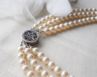 Triple Strand Pearl Bridal Necklace Decorative Sterling Clasp
