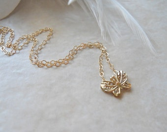Solid 10k Yellow Gold Filigree Butterfly on Gold Filled Chain