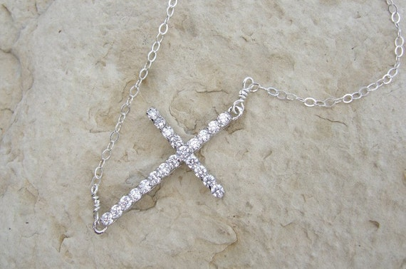 Sideways Cubic Zirconia CZ Rhinestone Cross Necklace Sterling Silver