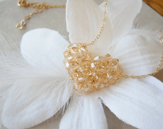 Swarovski Crystal Beaded Heart Necklace on Gold Filled Chain