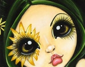 Black-Eyed Susan Fantasy Fairy ACEO ATC Print