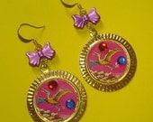 Hot Pink Flying Dinosaur Earrings