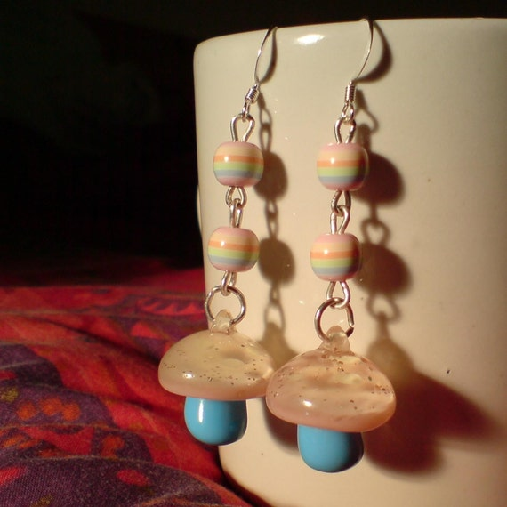 Pastel Magic Mushroom Earrings