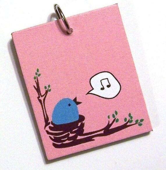 Little Blue Bird in Nest Pendant