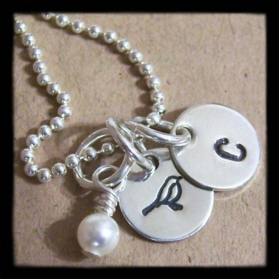 Double Disc Sterling Silver CONVERSATION Necklace - Initial and Design Stamp