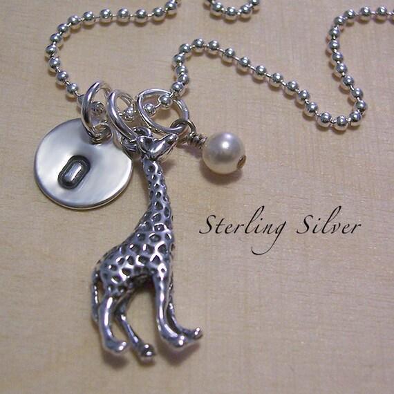 Giraffe Charm Bracelet: Giraffe Charm Necklace With Personalized By MadisonCraftStudio