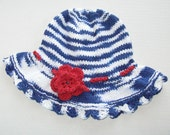 Blue and White Cotton Sun Hat with Red Flower