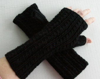 Fingerless Gloves Black Cashmere and Wool Blend Cables