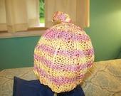 100 percent cotton chemo cap beanie hat orange sherbet hand knit knitted skull cap