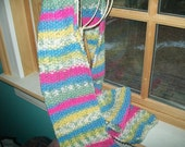 """Hand knit multicolor seed stitch scarf  yellow pink blue wool acrylic 60"""" x 5.5"""""""