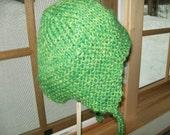 Handknit handdyed wool mohair earflap hat ski cap Spring Green OS