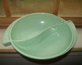 Vintage Boonton Melmac divided bowl mint green deco style