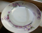 Vintage Hutschenreuther Selb China plate from Germany Bavaria Handpainted style Purple asters