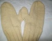 Hand knit hand dyed handspun super soft Romney Cross wool rustic mittens light yellow men women m l natural