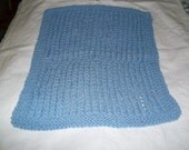 Handknit knitted spa wash dish cloth baby wipe blue large textured