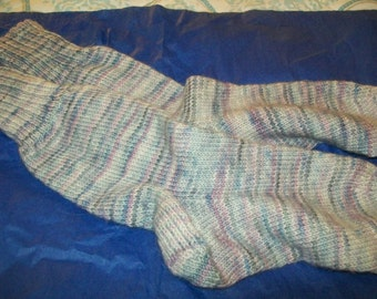 Handknit knitted handmade hand dyed merino socks stockings wool  superwash blue lilac pink  size  M L