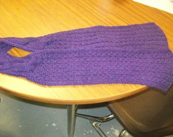 Gorgeous Alpaca Wool cable knit super soft scarf eggplant purple knitted handknit