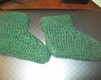 Hand knit knitted handknit sock ankle  booties stockings slippers merino wool socks slip on elf child adult small green