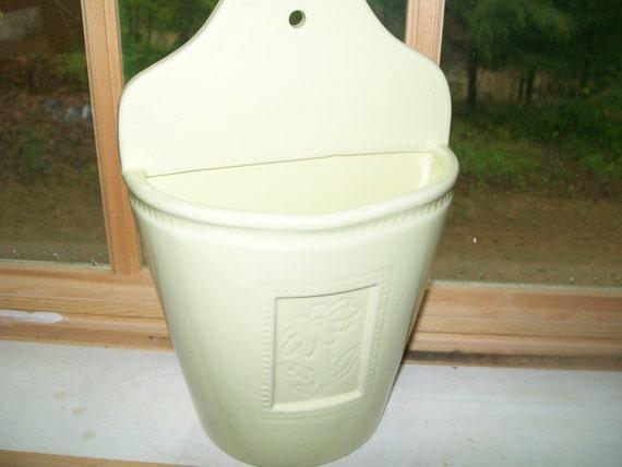 Vintage 80's Ceramic Wall Pocket Vase Large Yellow Light Green Daisy Chic Cottage