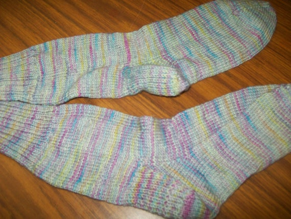Hand knit knitted hand dyed socks stocking blue faced leceister superwash BFL blue pink yellow m/l