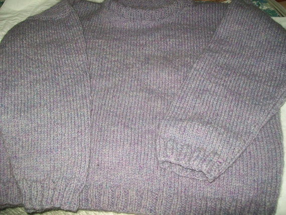 Hand Knit classic knitted Peace Fleece wool mohair crewneck boxy pullover sweater Latvian Lavender woman 10 12 14